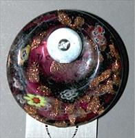 beadburgundygoldfloralroundglass