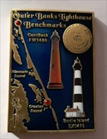 Outer Banks Lighthouse Benchmark Geocoin front