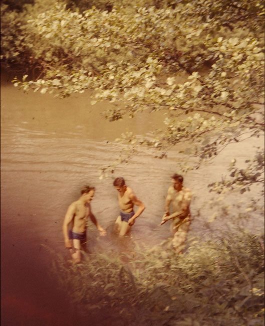 Local boys on site, having fun in the river.