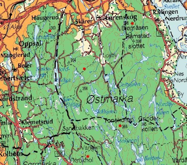 kart over østmarka GCP1A4 J&H#21   Østmarkas Stortopper Lørenskog, Tronfjell  kart over østmarka