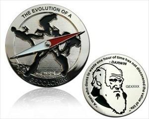 Geocaching Evolution Geocoin Poliertes Silber