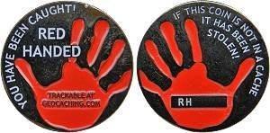 Red Handed Micro-Geocoin Black Nickel