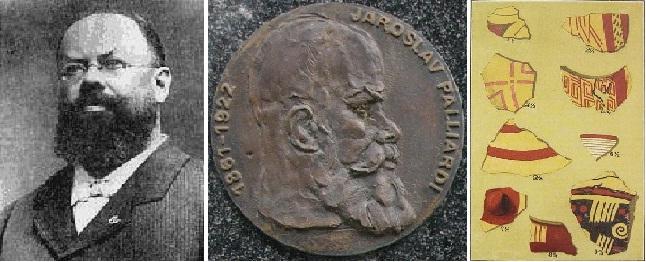 Jaroslav Palliardi, detail jeho pamětní desky na budově Jihomoravského muzea ve Znojmě a moravská malovaná keramika nalezená v roce 1888 ve Znojmě-Novosadech.
