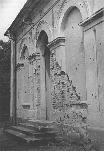 Lázeňský dům poškozený ruským granátem