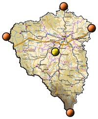Plzeňský kraj s vyznačenými kešemi