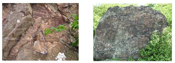 LEFT-WAYPOINT #2: Hydrothermally altered rock along Little Stony Man Trail / RIGHT-WAYPOINT #3: Volcanic Breccia Rock at lower overlook