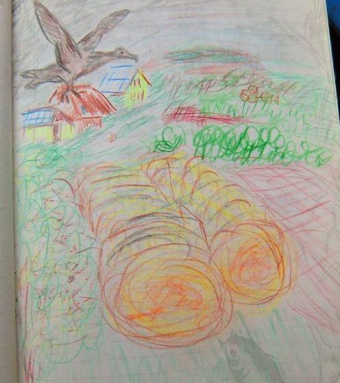 gemalte Strohballen, altes Versteck
