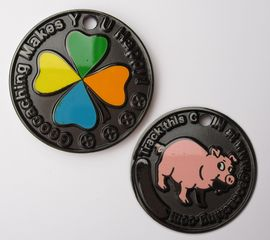 Happy Caching - Pig Geocoin