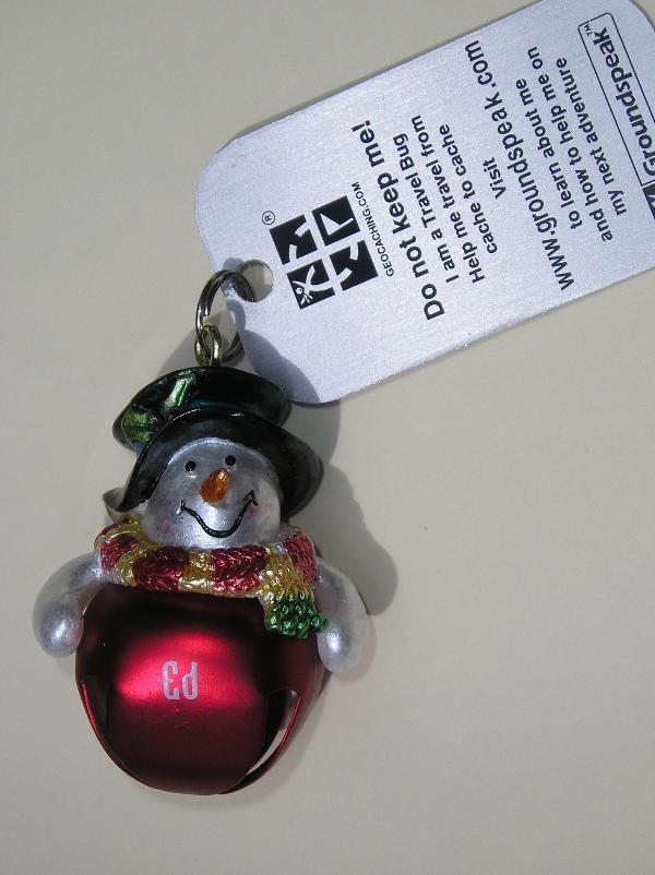TB272CP) Travel Bug Dog Tag - Florida Snowman