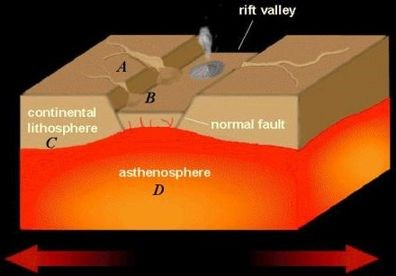 the above diagram shows the processes involved in creating a rift valley