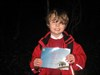 Isaac with our First to Find Certificate!