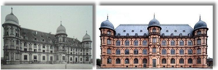 Schloss Gottesaue alt und neu