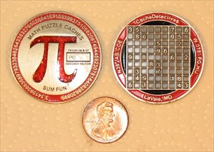 Red Pi Math Puzzle Geocoin
