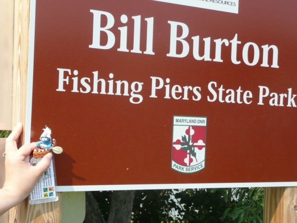 Tbm38p travel bug dog tag tb indianer schlumpf paddie for Bill burton fishing pier state park