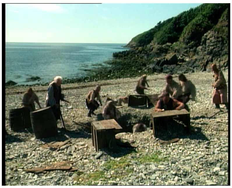 Film still: Pirates fight at the treasure location