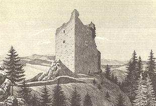 Severovýchodní nároží podle F. A. Hebera nároží na litografii z roku 1848 podle nákresu F. A. Hebera.