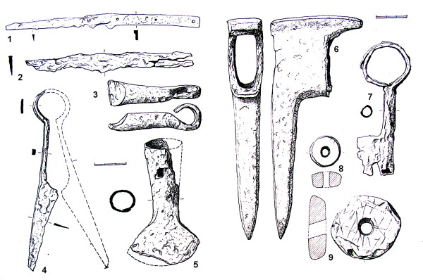 Selected finds from farmsteads 1 (6 & 7), 2 (1 through 5) and 3 (8 & 9). 1) and 2) knives, 3) fragment of a curb, 4) sheep shears, 5) ploughstaff, 6) pick, 7) key, 8) and 9) stone spindle whorls.