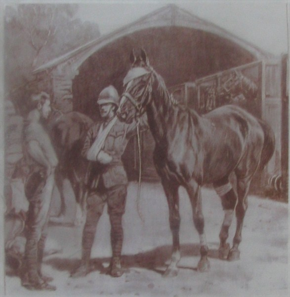 Wounded soldier and horse.