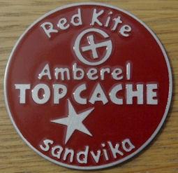 Amberel TOP CACHE geocoin Red Kite