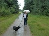 Mrs BVPete and Brutus in the rain.