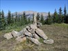 Guardian of the summit cairn. log image