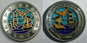 BoatLighthouse Suncatcher Geocoin -  Silver XLE