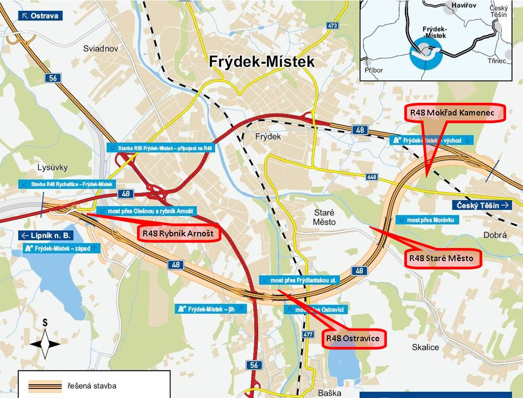 Mapa predpokládané trasy obchvatu