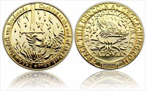 Medieval Caching Geocoin Poliertes Gold XLE