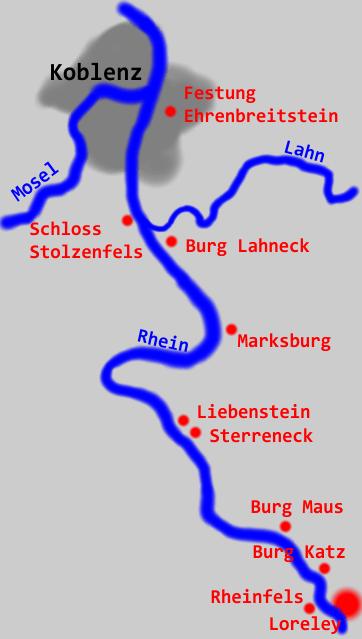 Karte Rheinverlauf