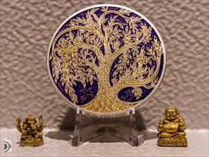 Celtic Tree of Life Geocoin - Purple on Satin Silv