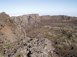 The crater at the top of the mountain