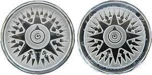 Crystal Compass Rose Geocoin, Glacier Ice Geocoin