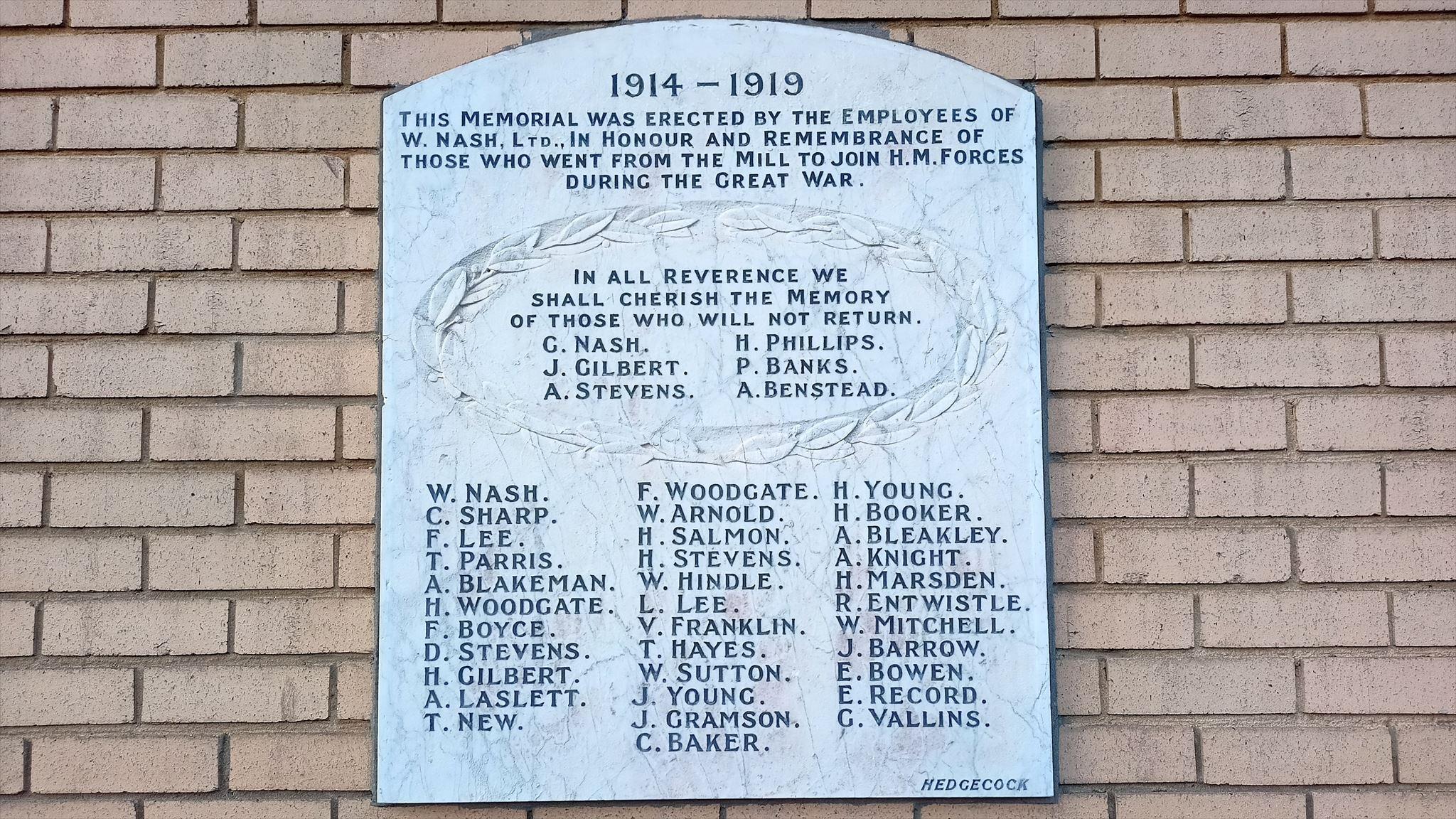W Nash Ltd war memorial