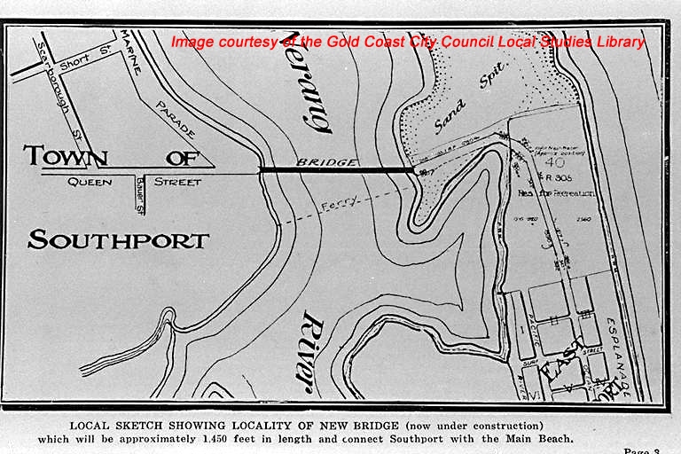Map showing the bridge in relation to Southport and Main Beach