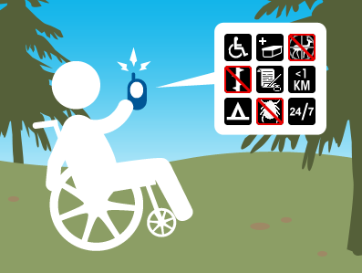 Geocacher in a wheelchair