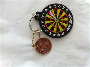 Gerry's 2 Cent Geocoine with Dartboard Keyring