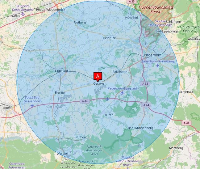 25 km Umkreis um Geseke