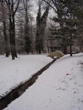 potok v parku i s mustkem