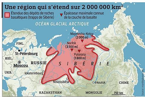 Extension actuelle des trapps de Sibérie