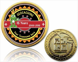 15 Jahre Geocaching Geocoin Gold
