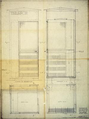 Georg Fredrik Fastings arkitekttegning fra 1932. Telemuseets arkiv