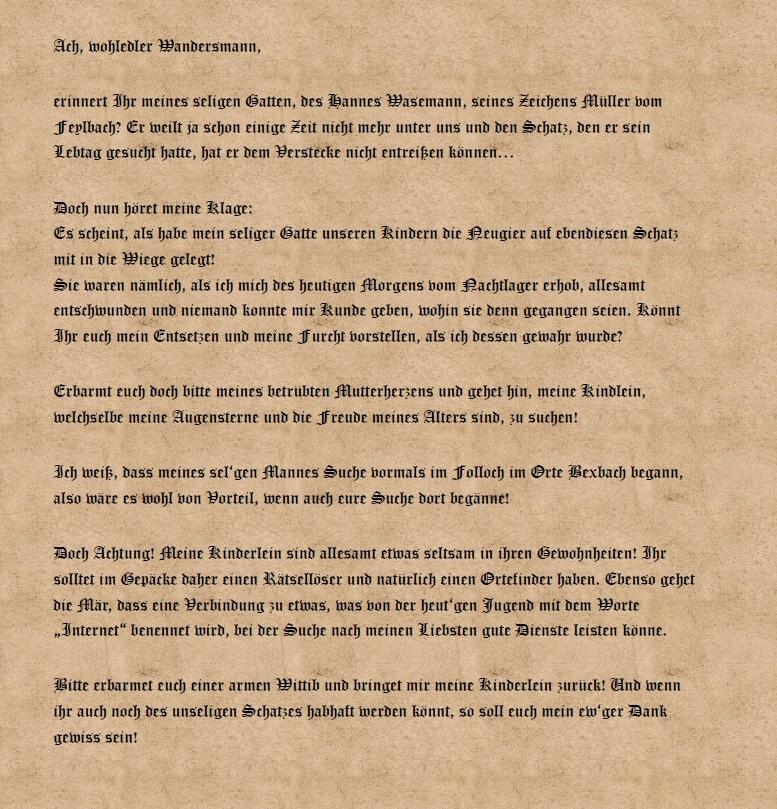 Bitte von Frau Wasemann