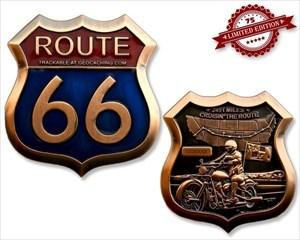 Route 66 Geocoin - Antik Kupfer XLE 75
