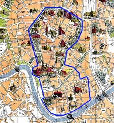 Mapa historycznego centrum Krakowa