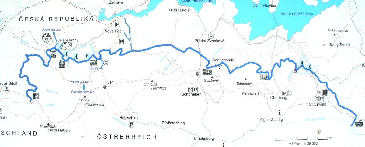 Schwarzenberský kanál - mapka