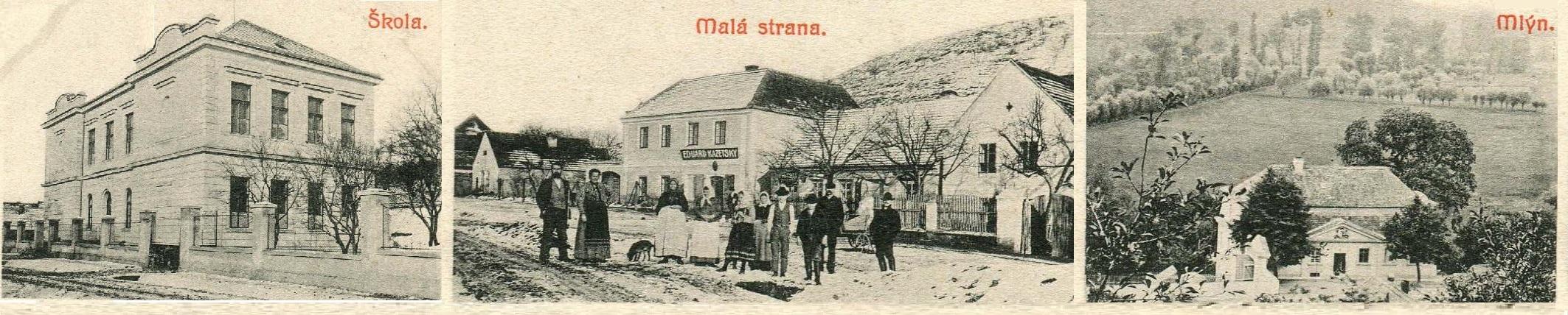 historické obrázky Sazené - škola, Malá Strana, mlýn
