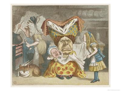 De Hertogin laat Alice op de baby passen