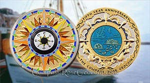 Compass Rose 5th Anniversary Geocoin - Mediterrane