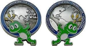 Supporting The Game Volunteer Geocoin - Blau