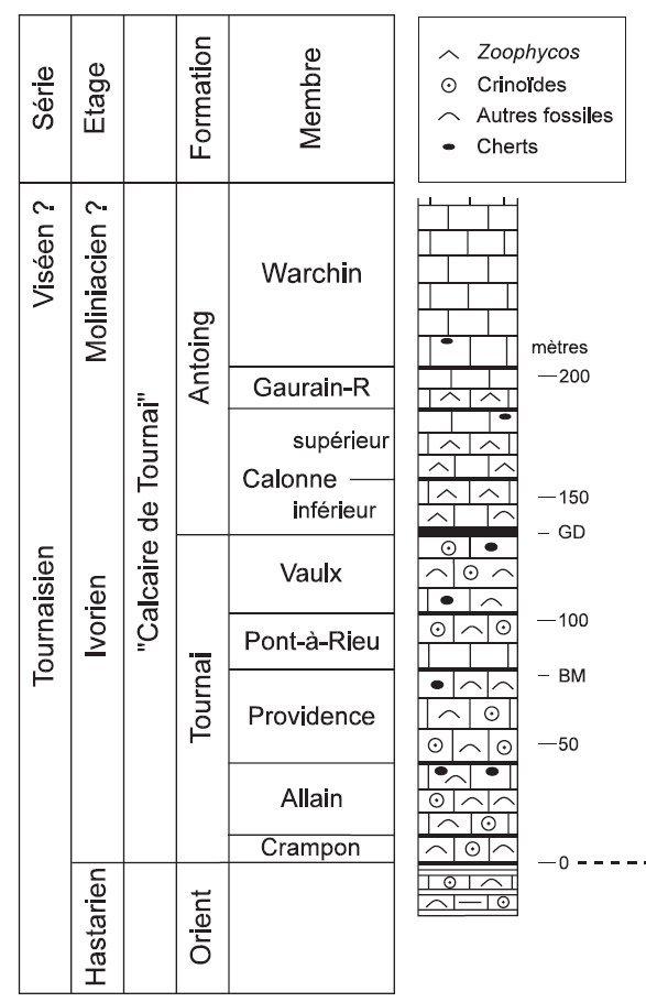 Coupe géologique des carrières de Tournai